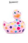 Mini canard vibrant Happiness rose - Déclinaison rose et multicolore du célèbre canard vibrant dans la collection