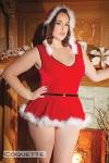 Costume Santa Teddy - Grande taille - Costume sexy de Noêl grande taille composé d'un body à capuche et d'une jupette amovible bordés de fin duvet blanc.