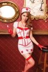 Déguisement infirmière 8 pièces - Déguisement d'infirmière, de la marque Paris Hollywood. Composé de huit pièces, top, jupe, ceinture, coiffe, stéthoscope, gants, bas et string.