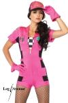 Costume rallye Pit Crew - Fin de série : uniquement disponible en XS. Costume Pit Crew : combishort zippé, top bandeau à damier, gants, casquette.