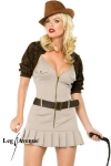 Costume aventurière Miss Indy - Costume d'aventurière comprenant la robe, le boléro, la ceinture et le fouet.