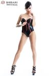Body Fumi  - Body bustier en wetlook souligné de rouge, collection Shibari, par Demoniq.