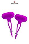 Pinces à seins vibrantes Bancroft - Pretty Love - Pinces à seins vibrantes et réglables en silicone, avec de petits picots pour stimuler les sens.