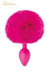 Plug queue de lapin - fuchsia - Un plug anal élégant et original avec son pompon fuchsia en fourrure synthétique fixé à son extrémité.