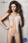 Athena body - Blanc - Body érotique fantaisie blanc en tulle et dentelle, une pure sensualité.