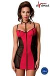 Robe sexy Coline - Robe rouge flamboyante et érotique avec ses empiècements de large résille sur les cotés.